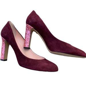 Kate Spade Allora Bordeaux suede rose glitter heel